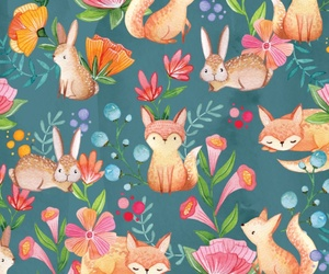 background, bunny, and floral image