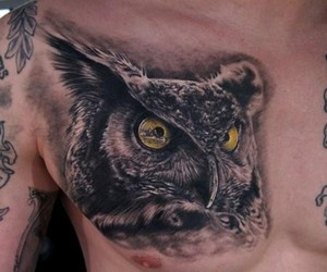 black and white, owl, and tattoo image