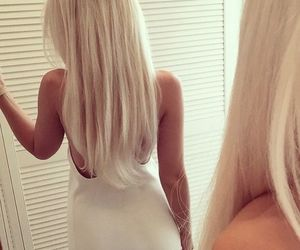 blonde hair, girl, and long hair image
