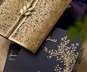 invitation, wedding, and gold image