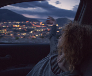 girl, car, and light image