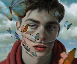 art, boy, and butterfly image