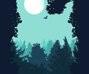 owl, blue, and moon image