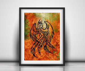 etsy, masculine wall art, and legendary bird image