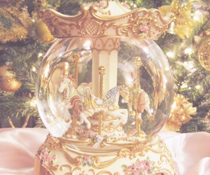 carousel, horse, and snow globe image