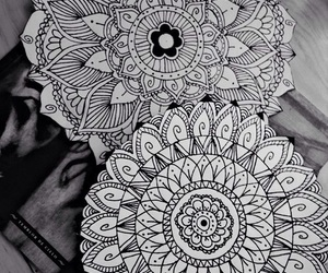 mandala, art, and black and white image