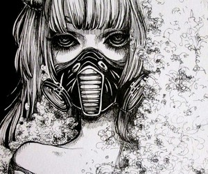 anime, dark, and gas mask image