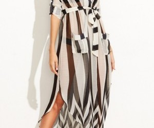 lapel, long sleeve, and maxi dress image