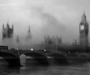 london, Big Ben, and black image