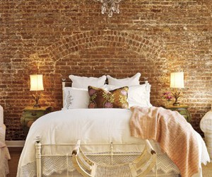 bedroom, bed, and brick image