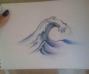 blue, summer, and wave image