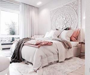 bed, bedding, and boho image