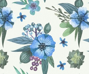 art, background, and blue flowers image