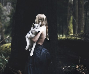 girl, wolf, and forest image
