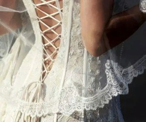 white, lace, and dress image