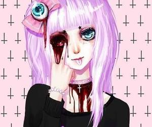 pastel goth, pastel, and blood image