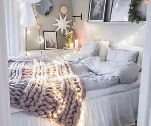 bedroom, cozy, and lights image