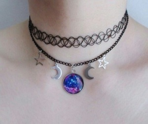 necklace, moon, and stars image