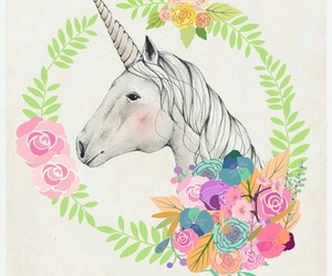 floral, unicorn, and unicorns image