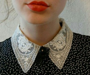 fashion, blouse, and red lips image