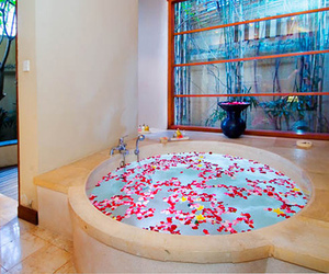 luxury, bath, and water image