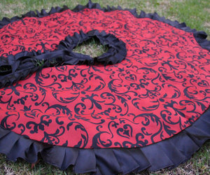 etsy, red tree skirt, and christmas tree skirt image