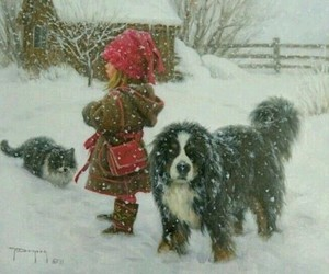 child, pets, and playing in the snow image