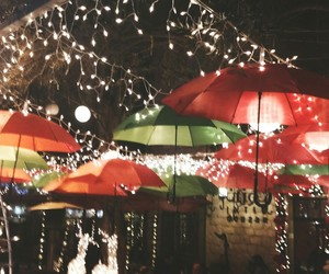 christmas, umbrella, and lights image