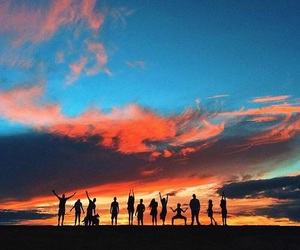 friends, sunset, and beautiful image