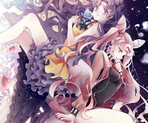 sailor moon, luna, and black lady image