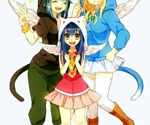 anime, levy, and cat image