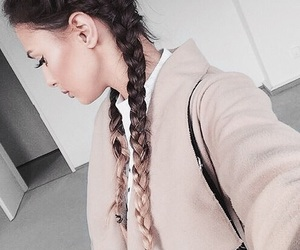 braids, coat, and fashion image