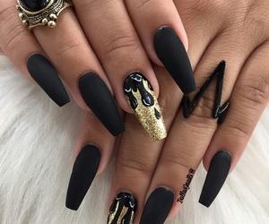 flames, gold, and nail design image
