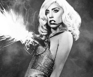 cute, black and white, and ladygaga image