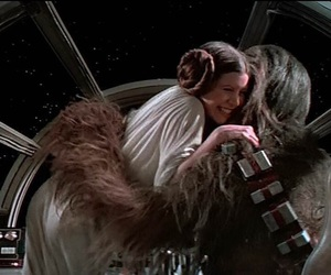 star wars, carrie fisher, and chewbacca image