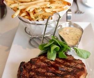 food, steak, and fries image