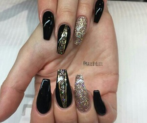 black, nails, and new year's eve image