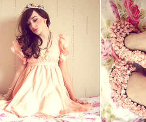 pink, flowers, and girl image