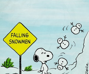 snoopy, snow, and snowman image