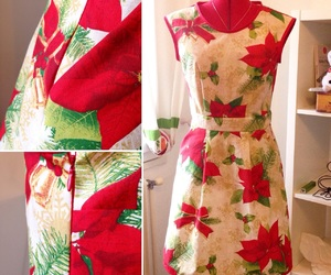 christmas, dress, and poinsettia image