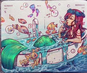 art, mermaid, and drawing image