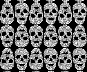 art, pattern, and skull image