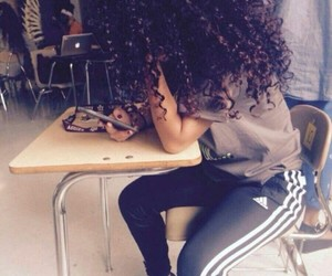 curly hair and adidas image