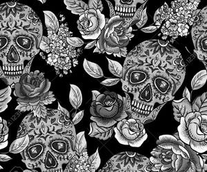 background, flowers, and skull image