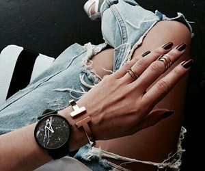 fashion, hand, and jeans image