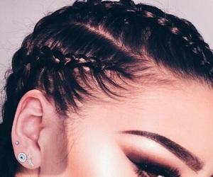 makeup, braid, and hair image