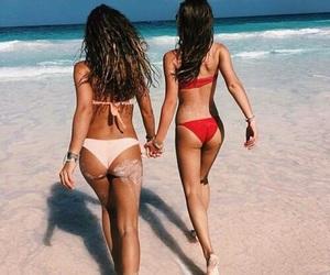 girl, beach, and bff image