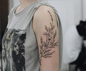 flowers, tattoo, and black image