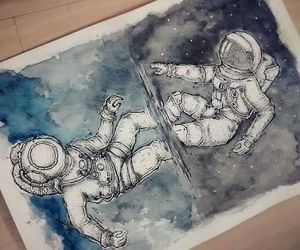 art, drawing, and astronaut image