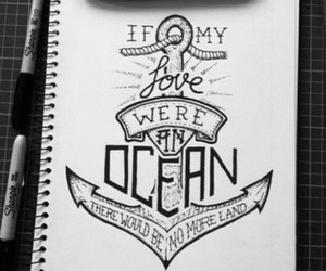 love, ocean, and anchor image